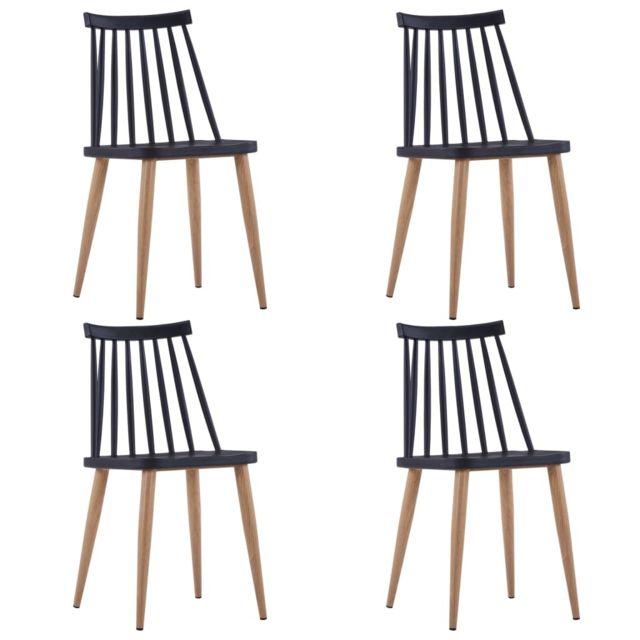 Magnifique Fauteuils et chaises serie La Valette Chaises de salle à manger 4 pcs Noir Plastique et acier