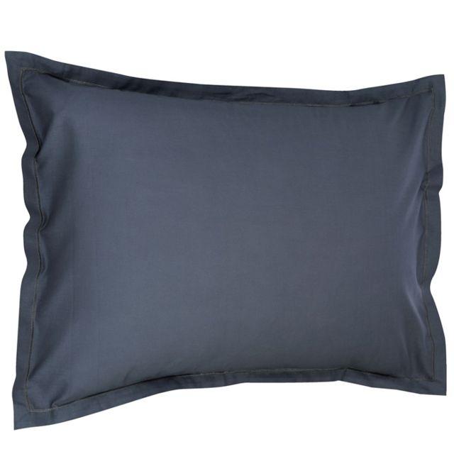 maison futee taie d oreiller rectangulaire 50x70 cm 100 coton gris fonc pas cher achat. Black Bedroom Furniture Sets. Home Design Ideas