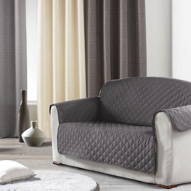 douceur d 39 interieur prot ge canap 2 places uni club anthracite gris pas cher achat vente. Black Bedroom Furniture Sets. Home Design Ideas