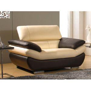 la maison du canap fauteuil cuir rosy beige et marron pas cher achat vente fauteuils. Black Bedroom Furniture Sets. Home Design Ideas