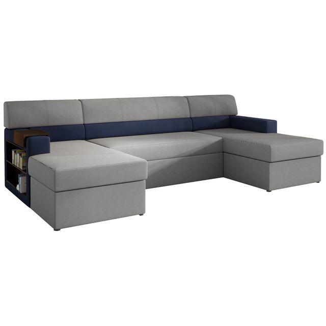 COMFORIUM Canapé d'angle convertible 4 places en tissu gris et pvc bleu marine avec 2 coffres de rangement et méridienne côté gauc