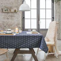 Haveli Republic - Nappe rectangulaire coton/polyester Teflon antitache triangle scandinave Fika - Bleu marine - 140x200cmNC