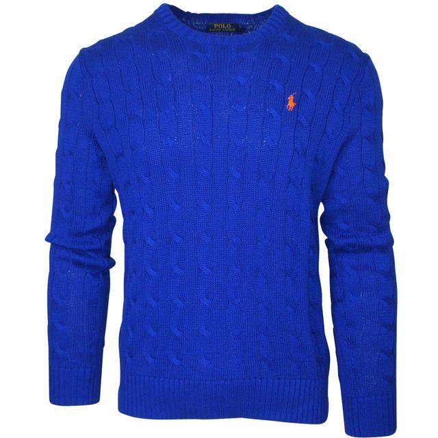d7c612999bb08d Ralph Lauren - Pull bleu électrique - pas cher Achat   Vente Pull homme -  RueDuCommerce