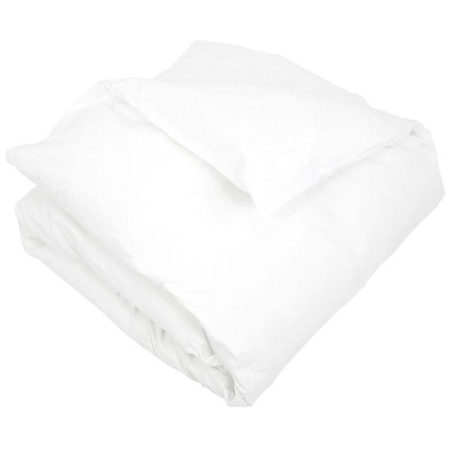 linnea housse de couette uni 200x200 cm pur percale primo blanc pas cher achat vente. Black Bedroom Furniture Sets. Home Design Ideas