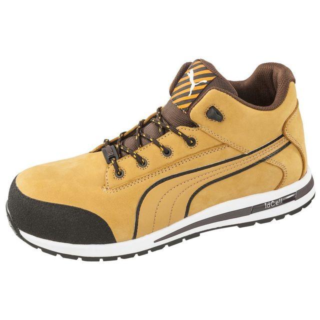 50c449a3b1 Puma - Chaussure de sécurité montante 100% non métaliique Puma Dash Wheat Mid  S3 Src