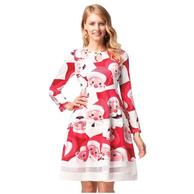 c50e22ba31e Wewoo - Robe Femme Dessin animé Père Noël Motif d impression manches longues  gaze robe