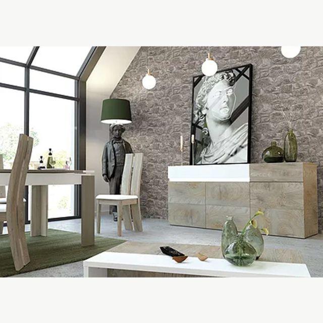 Nouvomeuble Salle à manger couleur chêne et blanc moderne Fano