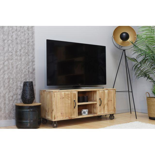 Meuble Tv Type Rustique Industriel Roulettes Métal 100 Bois Massif