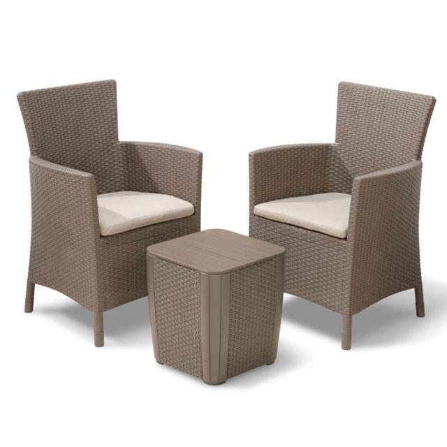 Sans marque allibert mobilier de jardin iowa 3 pi ces cappuccino nc pas cher achat vente for Marque mobilier de jardin