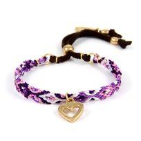 Blue Pearls - Ettika - Bracelet d'Amitié Coeur en or jaune et Coton Tressé Violet - Etk 0142