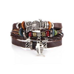 bracelet homme cuir tressé noir hibou chouette