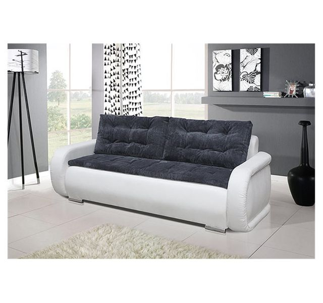 chloe design canap convertible nigma gris et blanc achat vente canap s pas chers. Black Bedroom Furniture Sets. Home Design Ideas