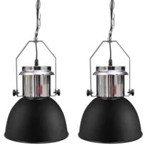 Vidaxl - Plafonnier moderne en métal noir 2 pièces