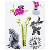 Promobo - Planche Lot 6 Stickers Deco Zen Statue Bouddha Tag Bambou Galets
