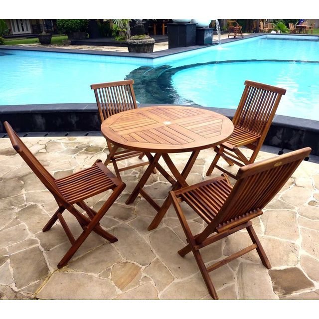 Wood En Stock - Salon de jardin table ronde 100 cm 4 chaises peignes ...