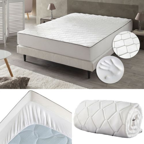 idmarket drap housse m moire de forme 140x190 cm surmatelas mousse blanc 140cm x 190cm pas. Black Bedroom Furniture Sets. Home Design Ideas