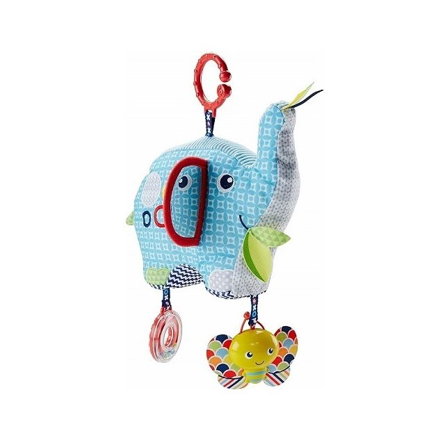 Fisher Price Peluche elephant d activites bleu 20 cm : textures variees, hochet, miroir, grelot - Eveil bebe