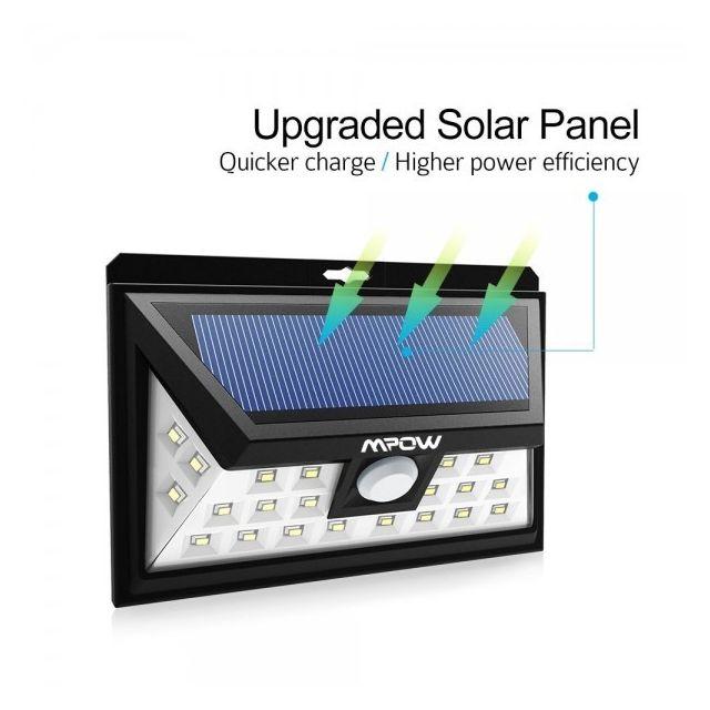 alpexe 24 led lampe solaire jardin etanche sans fil luminaire exterieur d tecteur de. Black Bedroom Furniture Sets. Home Design Ideas