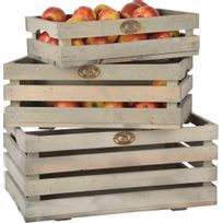 ESSCHERT DESIGN - Caisses à fruits en pin Lot de 3