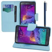 Vcomp - Housse Coque Etui portefeuille Support Video Livre rabat cuir Pu effet tissu pour Samsung Galaxy Note 4 Sm-n910F/ Note 4 Duos Dual Sim, N9100/ Note 4 CDMA, / N910C N910W8 N910V N910A N910T N910M + stylet - Bleu