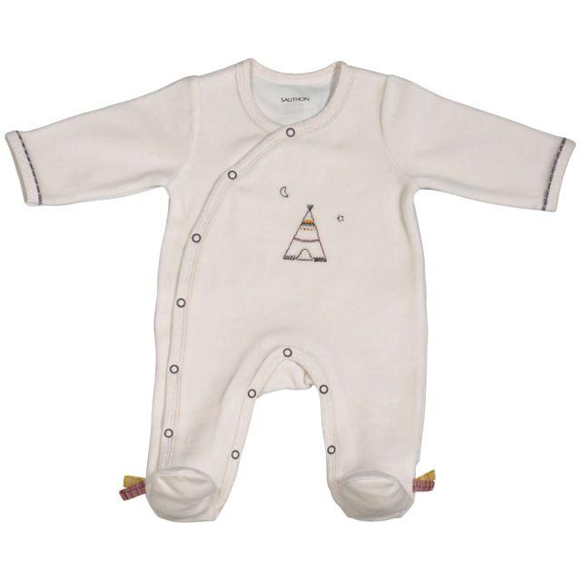 Sauthon - Pyjama bébé beige 3 mois Timouki - pas cher Achat   Vente Pyjamas d5a907ab726