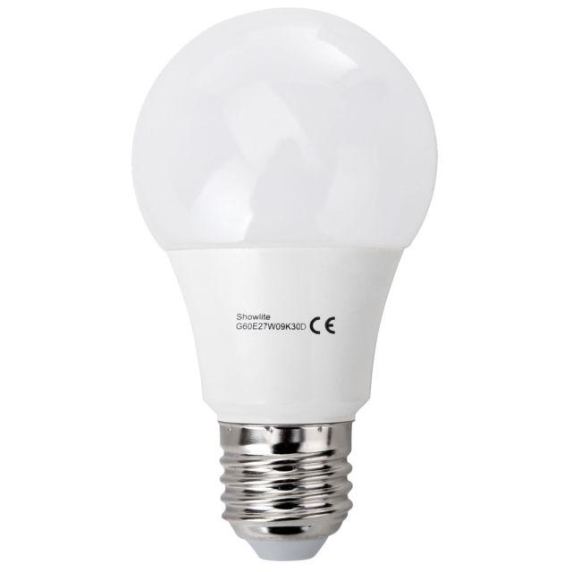 showlite led ampoule g60e27w09k30d 9 watts 860 lumens culot de l 39 ampoule e27 3000 kelvins. Black Bedroom Furniture Sets. Home Design Ideas