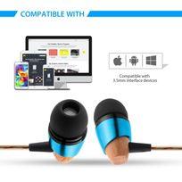 Alpexe - B20 écouteurs intra-auriculaires, Plug d'oreille en bois, métal, apparence, écouteurs intra-auriculaires, sans nœuds, anti-bruit, Très Basses profondes pour iPhone, iPod, iPad, lecteurs Mp3, Samsung Galaxy, etc