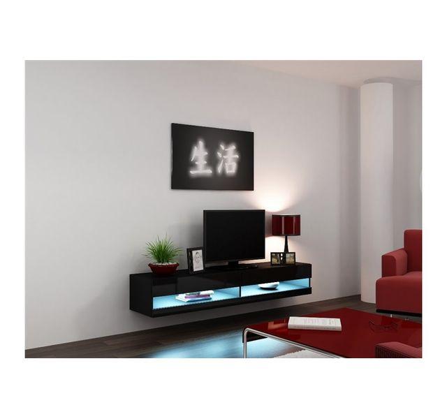 chloe design meuble tv design suspendu larmo new noir pas cher achat vente meubles tv. Black Bedroom Furniture Sets. Home Design Ideas