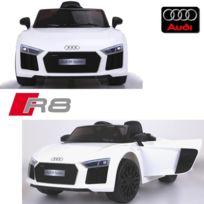 Audi - Voiture électrique enfant 12 volts nouvelle R8 pack luxe blanc à télécommande parentale siège simili cuir audio bluetooth