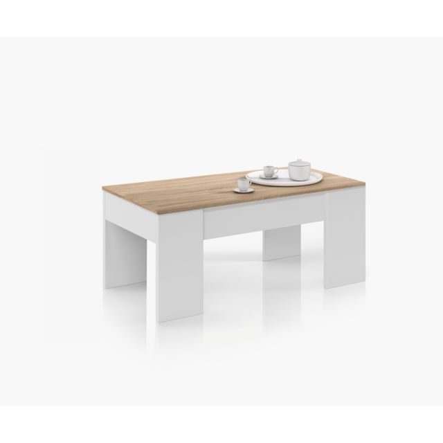 Incroyable FORES - Table basse à plateau relevable chêne / blanc - pas cher SE-84