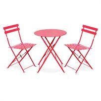 Alice'S Garden - Salon de jardin bistrot pliable Emilia rond rouge, table Ø60cm avec 2 chaises pliantes, acier thermolaqué, chaises avec lames incurvées