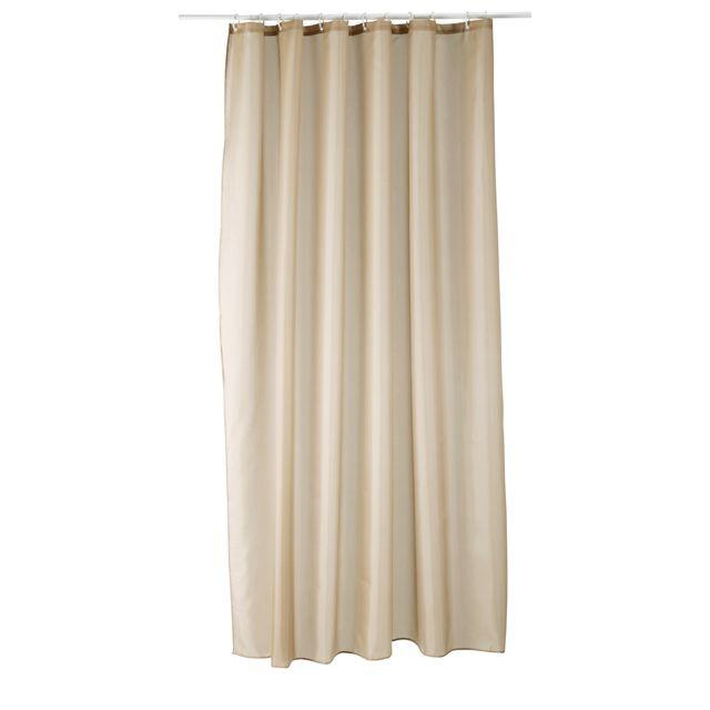 carrefour - rideau de douche tissu - 180x200 cm - beige uni