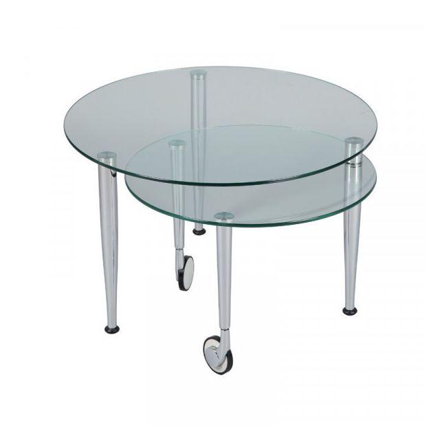 Dansmamaison Table basse Acier/Verre sur roulettes - Galas n°6 - L 68 x l 68 x H 43 cm