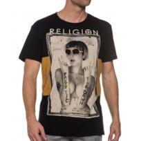 Religion clothing - Tee-shirt noir à imprimé jeune fille lunettes