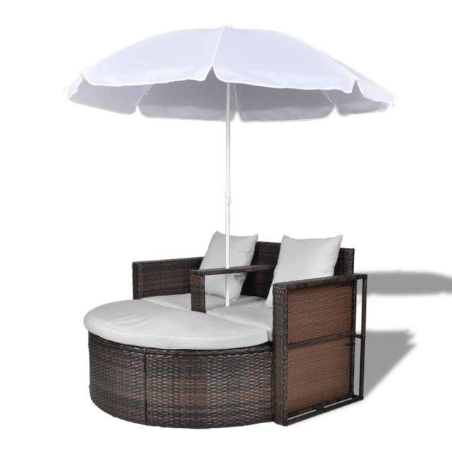 Icaverne - Lits d'extérieur collection Canapé de 2 places rond brun avec le parasol