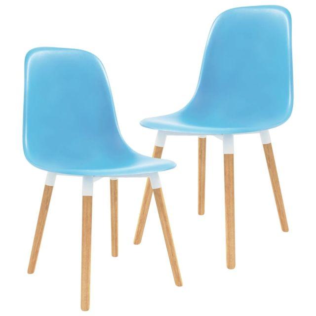 Stylé Fauteuils et chaises categorie N'Djaména Chaises de salle à manger 2 pcs Bleu Plastique