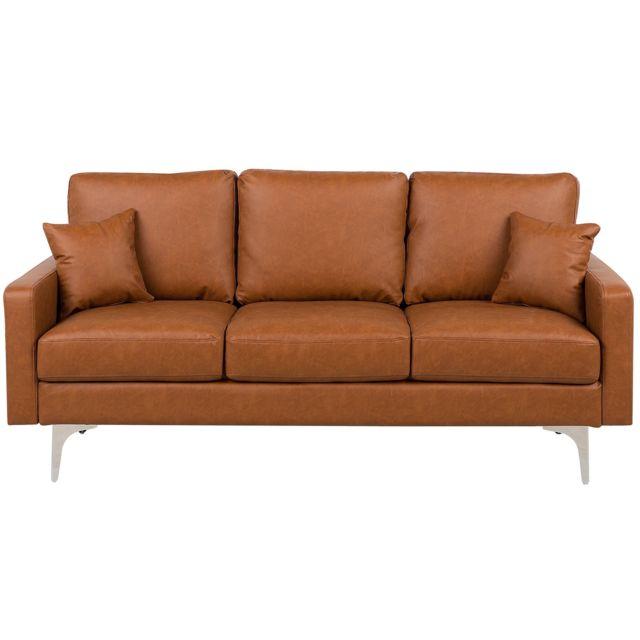 BELIANI Canapé en simili-cuir marron GAVLE