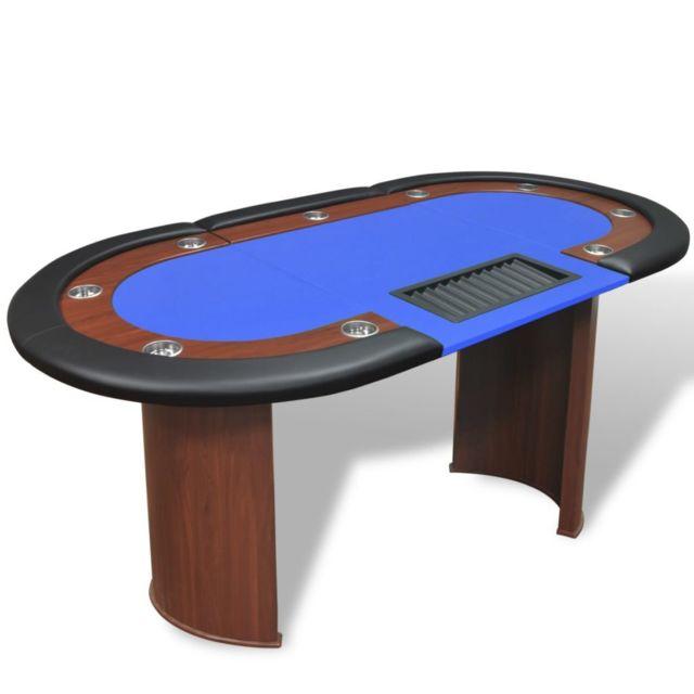 Vidaxl Table de poker pour 10 joueurs avec espace de croupier Bleu Bleu