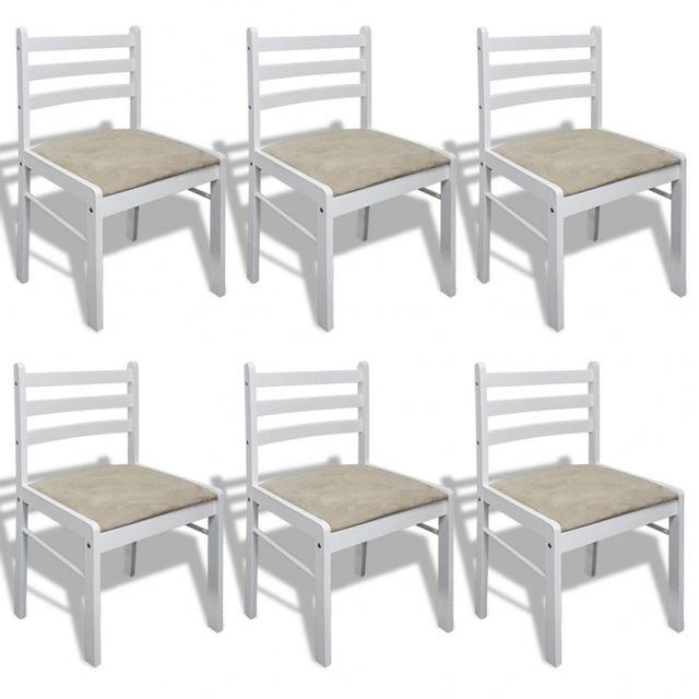 Casasmart Set de 6 chaises dossiers carrés blanc