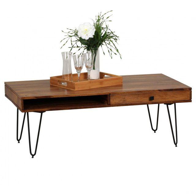 COMFORIUM Table basse en bois massif 120x60 cm à 2 tiroirs avec 4 pieds en métal