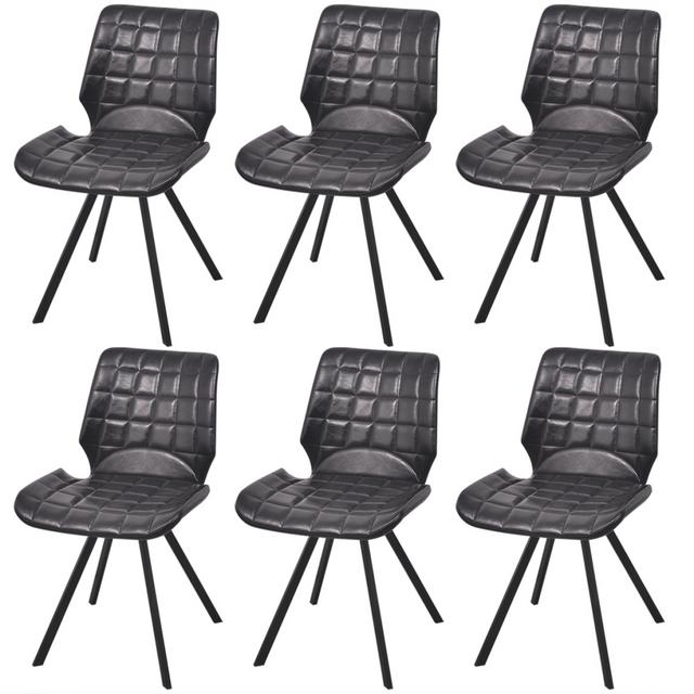 Vidaxl Chaises de salle à manger en cuir artificiel 6 pcs Noir