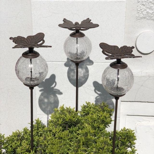 L'ORIGINALE Deco 3 Pics Tige Tuteurs Porte Plante de Jardin Blanc Papillon Marron 117 cm