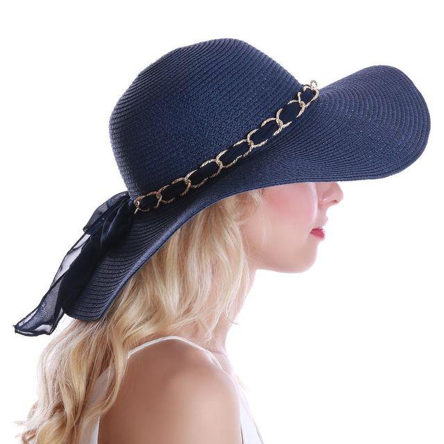 R/églable Chapeau de paille Sun Cap Summer Grand capeline Sun Cap
