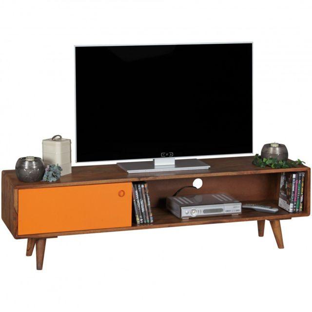 COMFORIUM - Meuble TV scandinave 140 cm à 1 porte et 1 compartiment ouvert  en bois c9df3471cf3b
