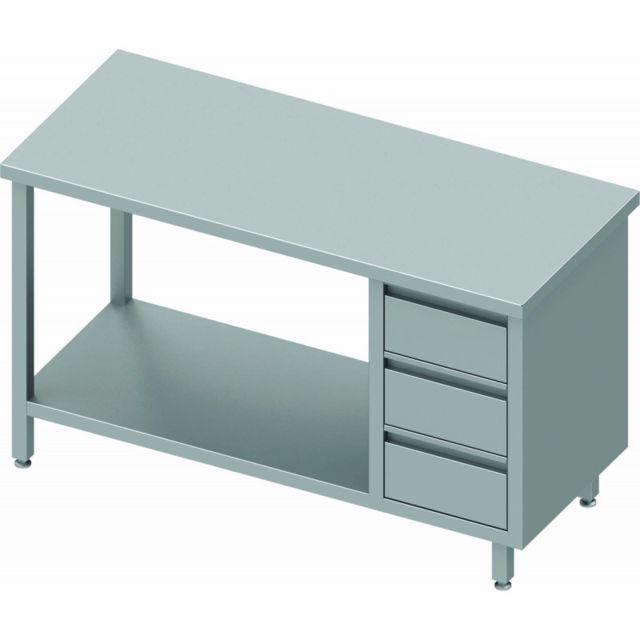 Materiel Chr Pro Table de Travail Inox - 3 Tiroirs & Etagère - Sans Dosseret - Gamme 800 - Stalgast - inox 800x800 800