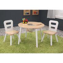 Kidkraft - Ensemble table de rangement + 2 chaises blanc et naturel