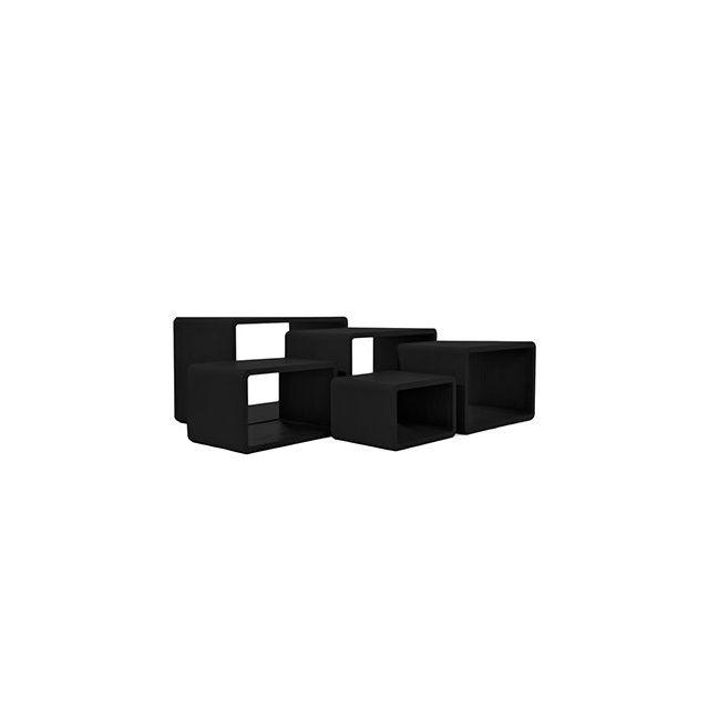 Set de 5 tables gigognes en bois noir