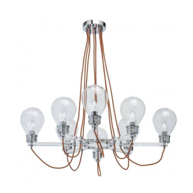 Luminaire Center Suspension chromée Loft 8 ampoules 73 Cm