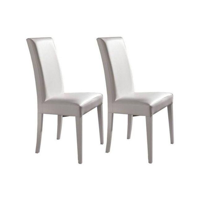 Inside 75 Lot de 2 chaises design italienne Vertigo Lux en tissu enduit polyuréthane simili façon cuir