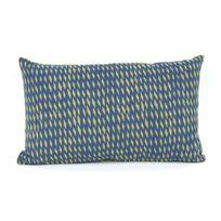 Present Time - Coussin 100% coton déhoussable motif losange Tuned Mesh - Bleu | Vert - 30x50cm